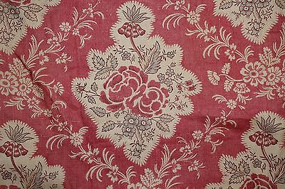 French Antique Printed Linen Fabric1920's Printed Provencal Curtain 18thc. Style