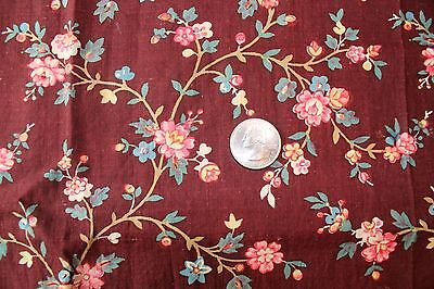 Antique 19thc Country French Maddar Cotton Linen Provencal Fabric-Dolls-Quilters