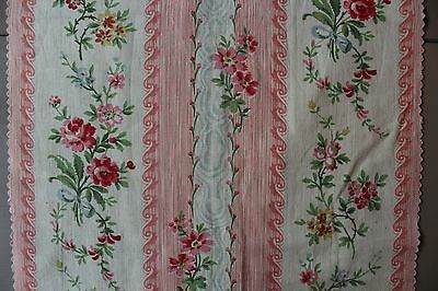 "Antique French Roses & Ribbons Printed Cotton Stripe Fabric L 22"" x W 10"""