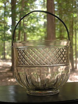 Vintage Art Deco Glass and Hammered Metal Ice Bucket