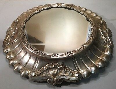 Vintage Vanity Mirrored Tray Silverplate Metal Wall Hanging Footed #A366