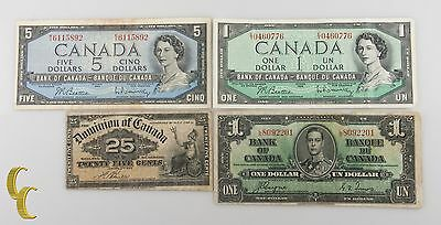 1900-1954 Canada 4 pc Note Lot 25 cents, $1, $5 (VG+ to VF+) Condition