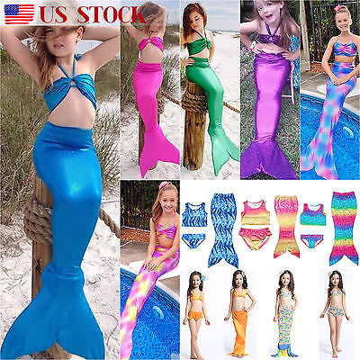 3pcs Set Kids Baby Girls Mermaid Tail Swimmable Swimwear Bikini Swimsuit Costume