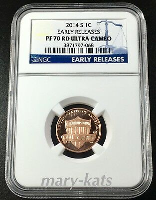 2014 S 1c LINCOLN SHIELD CENT PENNY NGC EARLY RELEASES PF70 RD ULTRA CAMEO