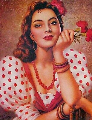 Traditional Mexican Calendar Art Jesus Helguera beautiful spanish girl sevillana