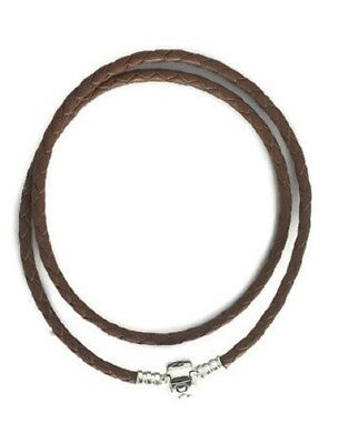 PANDORA Brown Braided Double-Leather Charm Bracelet 590705CBN-D2, 15 in