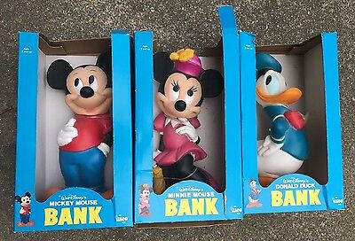 Lot of 3 Vintage Unopened ILLCO Disney Banks *Minnie, Mickey, and Donald Duck*
