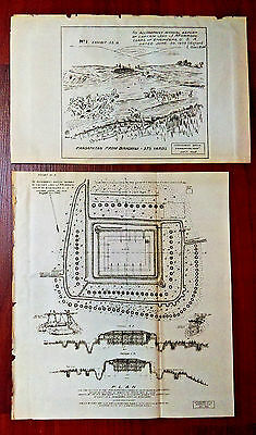 2 1902 Sketch Diagrams Philippines Spanish Am War Pendapatan Military Fort Plans