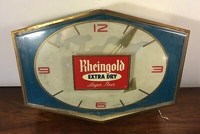 Rare Rheingold Beer Light Up Clock Sign Works Man Cave Brooklyn NY