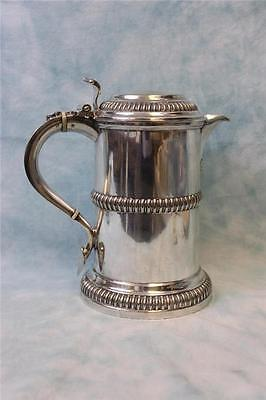 """Antique 8.2"""" tall silver-plate tankard pitcher Handsome and Heavy circa 1880's"""