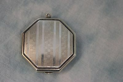 "Antique 1.5"" Octagon Shaped Sterling Silver Vanity Compact  by Bliss .77 oz troy"