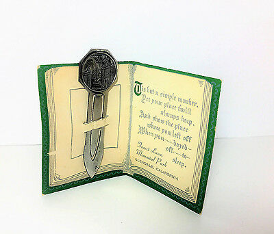 Glendale Ca Memorial Book of Friendship Vintage Metal Paper Card Clip Bookmark