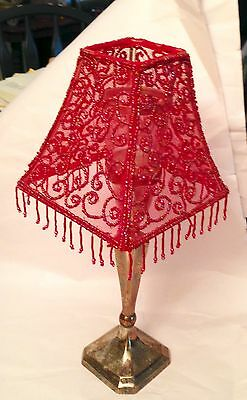 Silver Stand Base Glass Votive Red Fringed Beaded Shade Nice!!