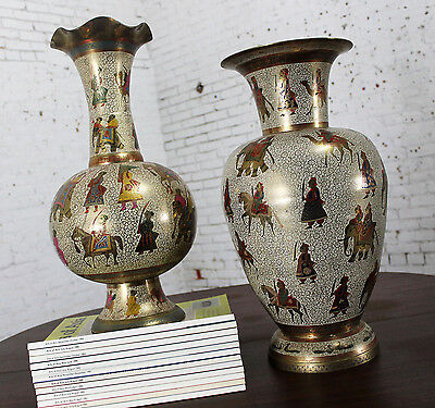 Unmatched Pair Etched and Enameled Cast Brass Vases Kashmiri Indo Persian Monume