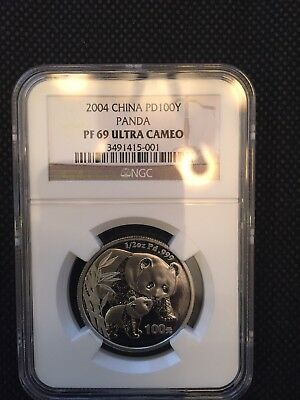 2004 China Panda Palladium  100 Yuan NGC PF69UC, NCS Conserved