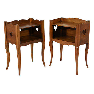 Pair of Antique French Provincial-style Night Stands Made from Solid Cherry Wood