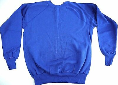 VINTAGE 80s PANNILL mens XL blank SWEATSHIRT made in USA nos DS blue
