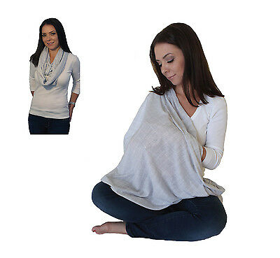 LK Baby Infinity Nursing Scarf Breastfeeding Privacy Cover Up Light Grey Pattern
