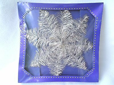 CHRISTMAS TREE TOP STAR with SILVER PLATED TINSEL on WIRE FROM FINLAND