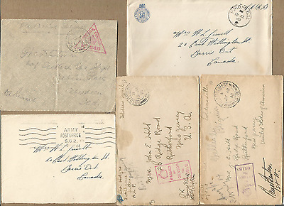 Us+Allied Forces Ph,ww1-2,fine Lot Of 5 Covers To Us,canada.#2