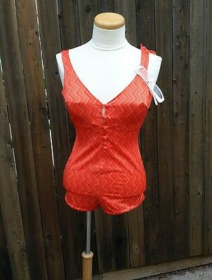 Vintage Cole of California 1970's Swimsuit Made in Hong Kong Burt Retro Orange