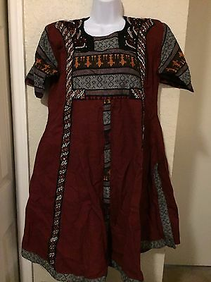 Kurta Kurti Women Ethnic Dress top Tunic Pakistani M embroidered beads red blk