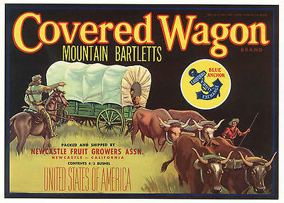 *Original* COVERED WAGON Train Pioneer Horse WESTERN Pear Label NOT A COPY!!
