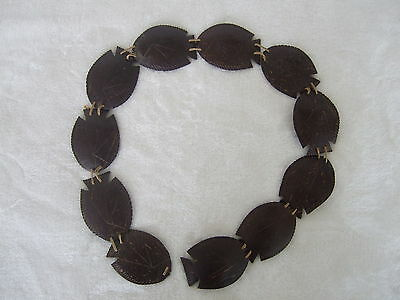 South Pacific VTG Carved Fish Pattern Coconut Shell Belt