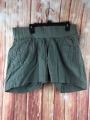 Women's Angel Kiss Army Green Maternity Shorts Size L Cargo Style Casual Comfort
