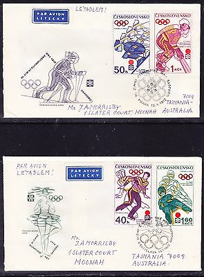 Czech 1972 Winter Olympics TWO First Day Covers - Addressed Tasmania