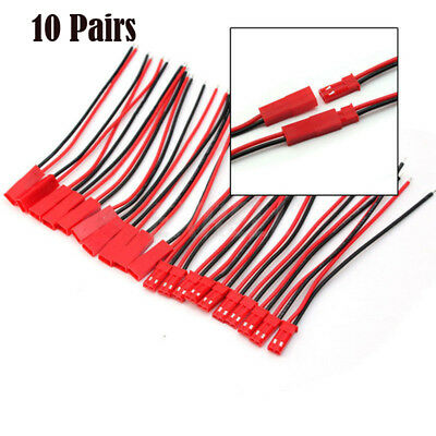 10 Pairs 10cm JST Plug 2pin Connector Cable Wire Female+Male For RC Lipo Battery
