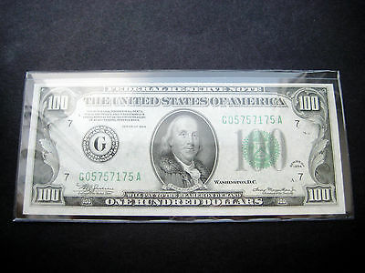 $100 1934 G Chicago Federal Reserve Choice Unc Bu Note