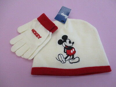 Mickey Mouse Girls Winter White Disney Hat & Matching Gloves Set Nwt