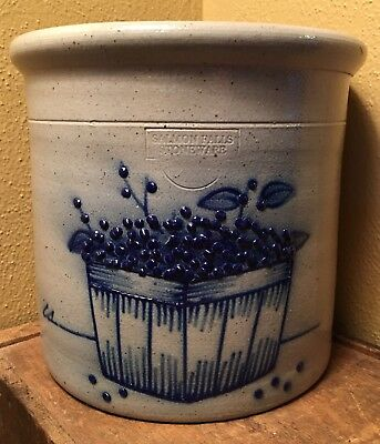 RARE Large Salmon Falls Stoneware Salt Glazed Cobalt Blue Berry Basket Crock