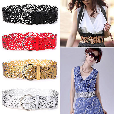 Women Hollow Flower Buckle PU Leather Waist Belt Retro Wide Adjustable Waistband