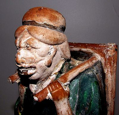 """Antique Chinese Ming Tomb Burial Pottery Figure Merchant c.1368-1644 / 11.5"""" h"""