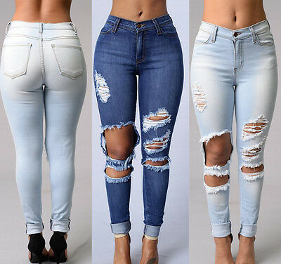 Womens Destroyed Ripped Distressed Slim Denim Pants Boyfriend Jeans Trousers New