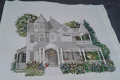 Grey House and Garden Completed Cross stitch