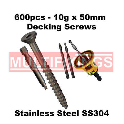 600pcs - 10g x 50mm Stainless 304 Decking Screws + Macsim Clever Tool