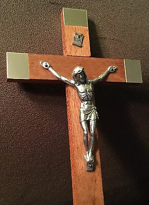 Solid Wood Table Top Cross Crucifix Jesus Gold Tone Metal Plate Accent Italy