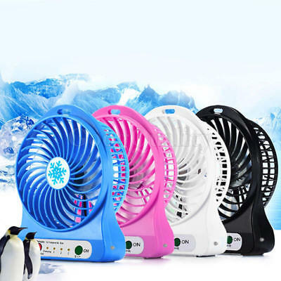 Portable-Rechargeable LED Light Fan Air Cooler Mini Desk USB Fan +18650 Battery