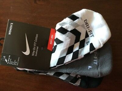 NIKE Dry Fit Cotton Cushioned No-Show Women SOCKS Size 6-10 M Blk&Wht 3-pairs