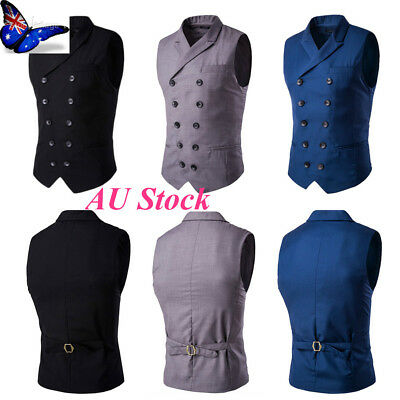AU Mens Turndown Double Breasted Work Vest Gilets Waistcoat Suit Jacket  Blazer be19dbcb6134