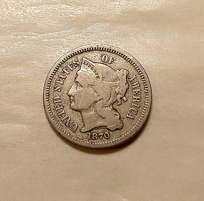 1870 Three Cent Nickel - Very Nice Looking Coin