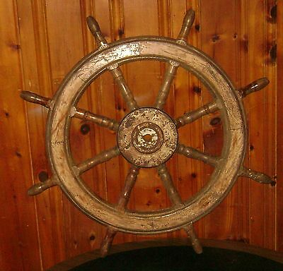 """Antique Ship Captains Wheel 39.5"""" Pirate Whaling Navy"""