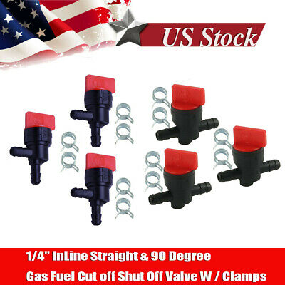 """2X 1/4""""InLine Straight Fuel Gas Cut-Off / Shut Valve for Petcock Motorcyc CLAMPS"""