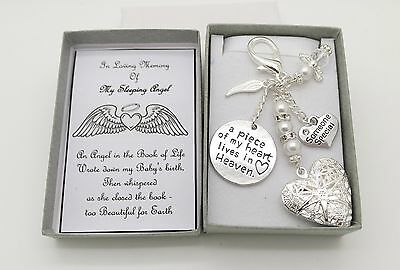 Miscarriage.Baby Loss..In Loving Memory Heart Locket Keyring. Memorial.Sympathy