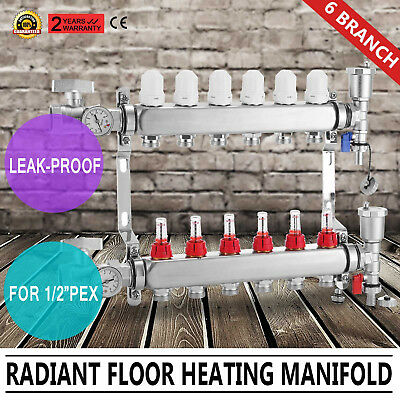 6 Port Underfloor Heating Manifolds Heating Manifold 12mm Pipe 35℃ - 65℃