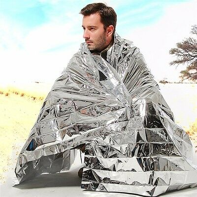 2pcs Waterproof Emergency Survival Foil Thermal First Aid Rescue Blanket