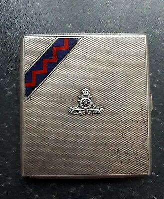 Antique Royal Artillery silver cigarette case date 1861-1862
